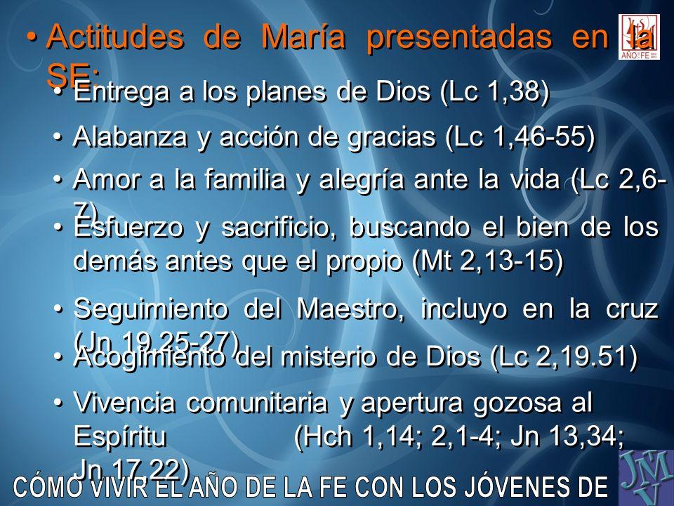 Actitudes de María presentadas en la SE: Entrega a los planes de Dios (Lc 1,38) Alabanza y acción de gracias (Lc 1,46-55) Amor a la familia y alegría