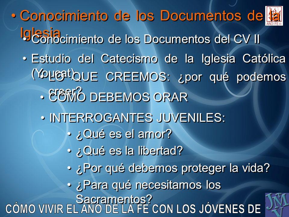 Conocimiento de los Documentos de la Iglesia Conocimiento de los Documentos del CV II Estudio del Catecismo de la Iglesia Católica (Youcat) LO QUE CRE