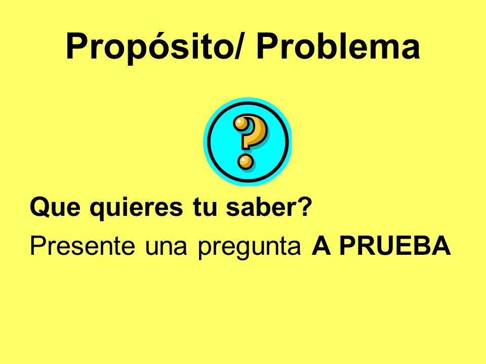 Propósito/ Problema Que quieres tu saber? Presente una pregunta A PRUEBA