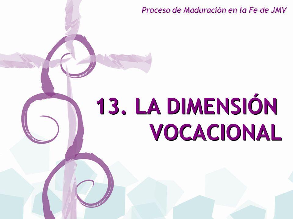 13. LA DIMENSIÓN VOCACIONAL 13. LA DIMENSIÓN VOCACIONAL Proceso de Maduración en la Fe de JMV