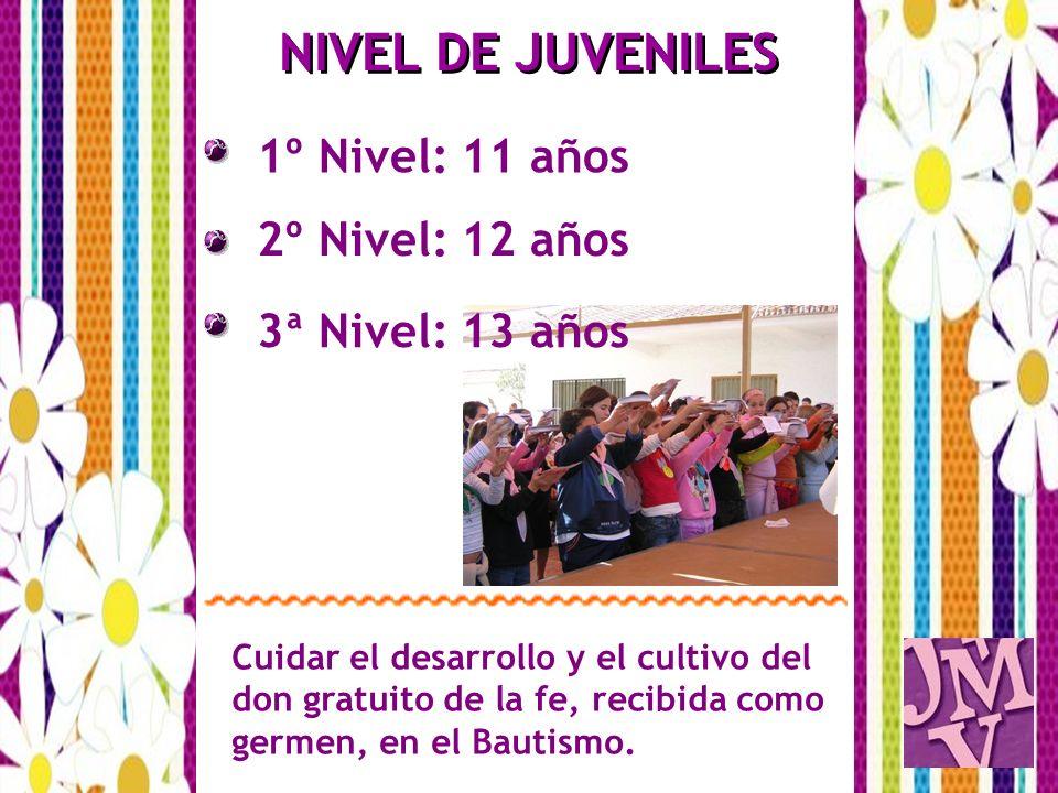 1º Nivel: 11 años NIVEL DE JUVENILES 2º Nivel: 12 años Cuidar el desarrollo y el cultivo del don gratuito de la fe, recibida como germen, en el Bautis