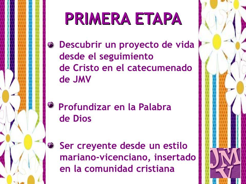 PRIMERA ETAPA Descubrir un proyecto de vida desde el seguimiento de Cristo en el catecumenado de JMV Profundizar en la Palabra de Dios Ser creyente de
