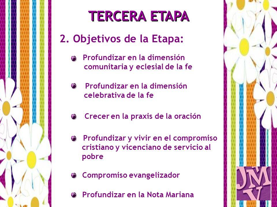 2. Objetivos de la Etapa: Profundizar en la dimensión comunitaria y eclesial de la fe Profundizar en la dimensión celebrativa de la fe Crecer en la pr