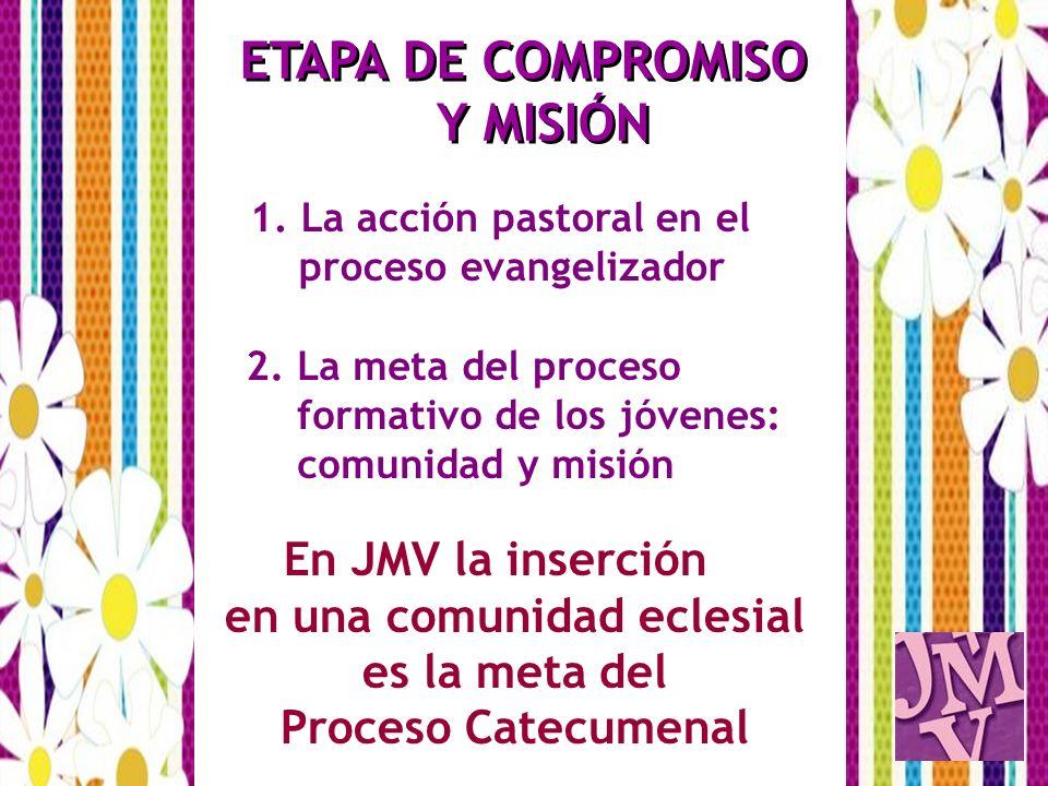 1. La acción pastoral en el proceso evangelizador 2. La meta del proceso formativo de los jóvenes: comunidad y misión En JMV la inserción en una comun