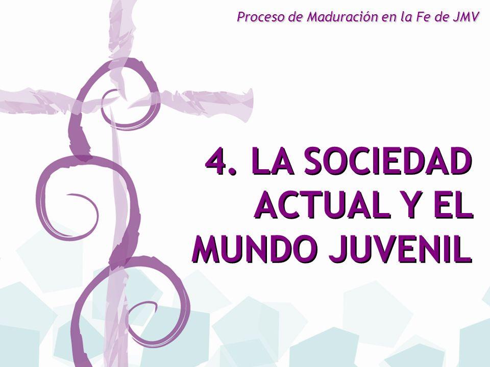 4. LA SOCIEDAD ACTUAL Y EL MUNDO JUVENIL 4. LA SOCIEDAD ACTUAL Y EL MUNDO JUVENIL Proceso de Maduración en la Fe de JMV