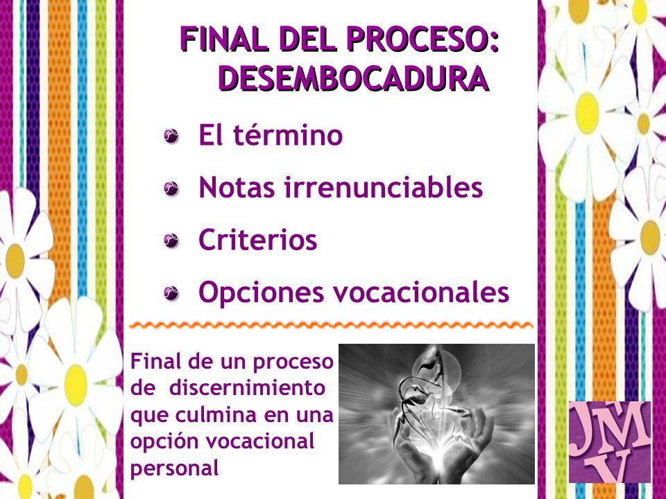 El término FINAL DEL PROCESO: DESEMBOCADURA Notas irrenunciables Criterios Final de un proceso de discernimiento que culmina en una opción vocacional