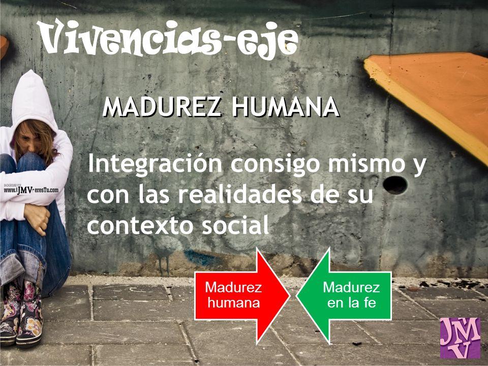 MADUREZ HUMANA Integración consigo mismo y con las realidades de su contexto social Madurez humana Madurez en la fe