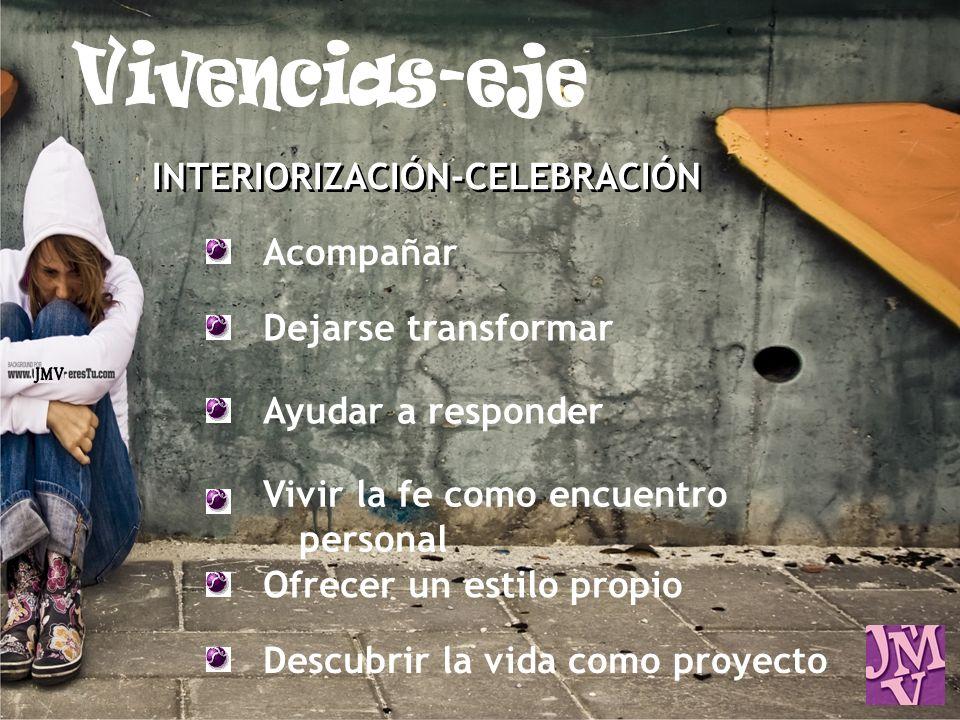 INTERIORIZACIÓN-CELEBRACIÓN Acompañar Dejarse transformar Ayudar a responder Vivir la fe como encuentro personal Ofrecer un estilo propio Descubrir la