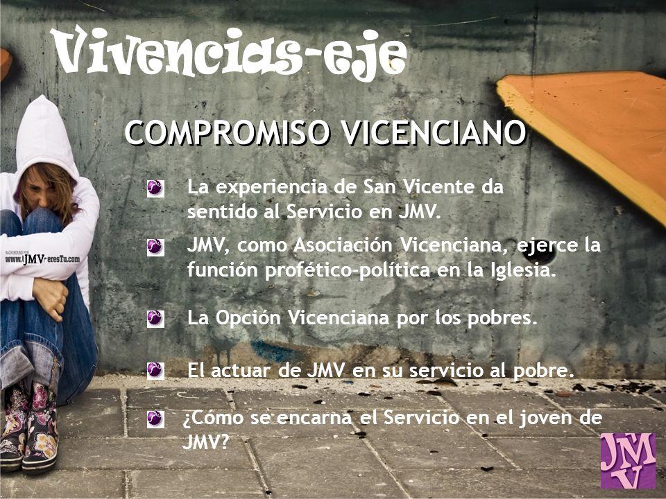 COMPROMISO VICENCIANO La experiencia de San Vicente da sentido al Servicio en JMV. JMV, como Asociación Vicenciana, ejerce la función profético-políti