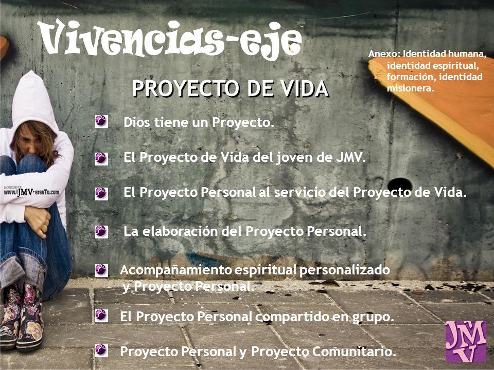 PROYECTO DE VIDA Dios tiene un Proyecto. El Proyecto de Vida del joven de JMV. El Proyecto Personal al servicio del Proyecto de Vida. La elaboración d