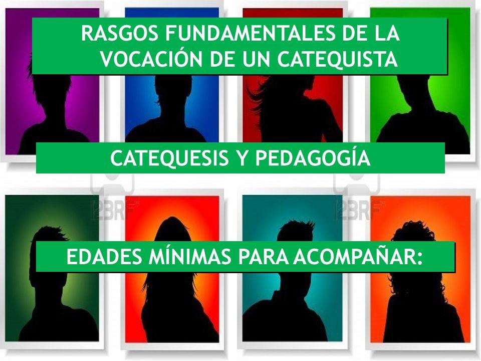 RASGOS FUNDAMENTALES DE LA VOCACIÓN DE UN CATEQUISTA CATEQUESIS Y PEDAGOGÍA EDADES MÍNIMAS PARA ACOMPAÑAR: