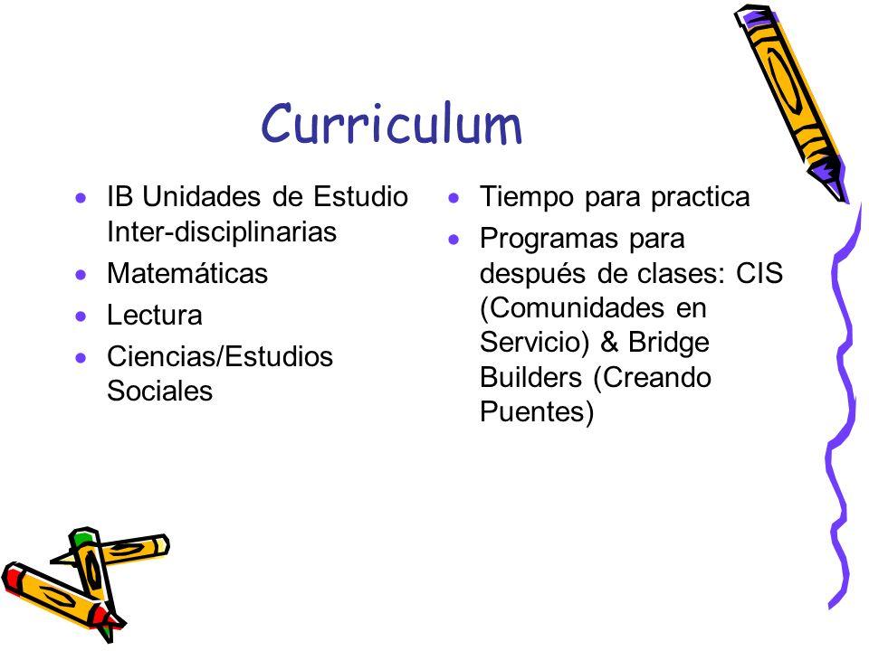 Curriculum IB Unidades de Estudio Inter-disciplinarias Matemáticas Lectura Ciencias/Estudios Sociales Tiempo para practica Programas para después de c