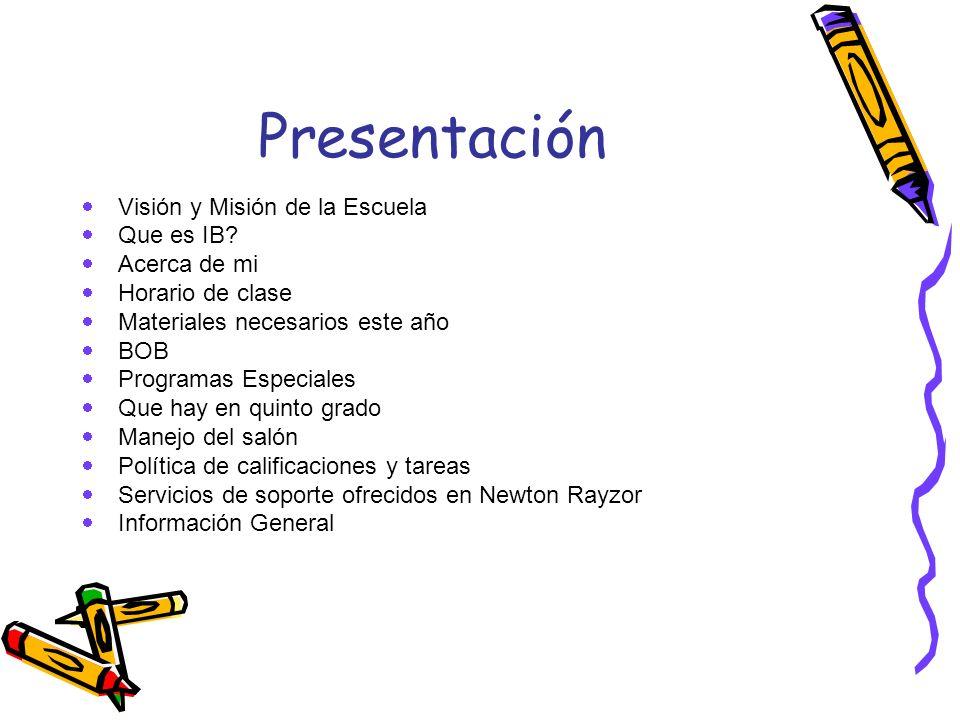 Presentación Visión y Misión de la Escuela Que es IB? Acerca de mi Horario de clase Materiales necesarios este año BOB Programas Especiales Que hay en