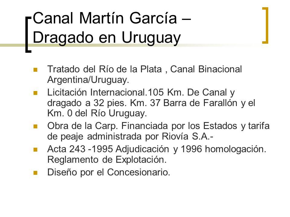 Canal Martín García – Dragado en Uruguay Tratado del Río de la Plata, Canal Binacional Argentina/Uruguay.