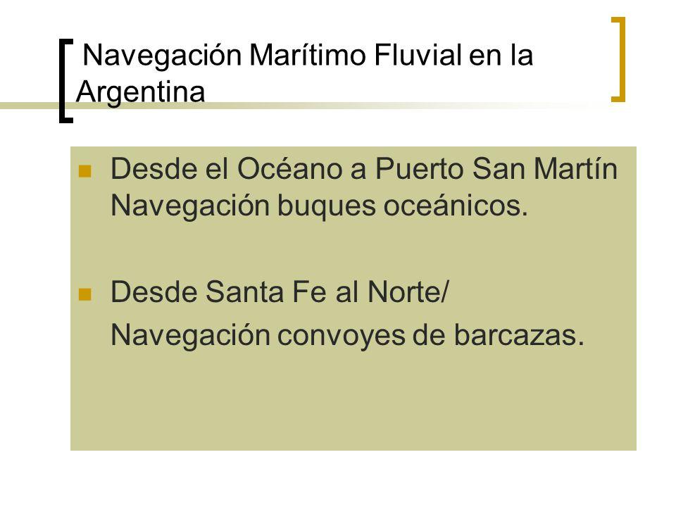 Navegación Marítimo Fluvial en la Argentina Desde el Océano a Puerto San Martín Navegación buques oceánicos. Desde Santa Fe al Norte/ Navegación convo