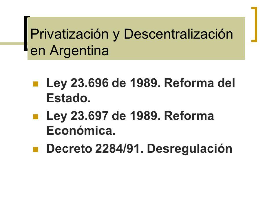 Privatización y Descentralización en Argentina Ley 23.696 de 1989. Reforma del Estado. Ley 23.697 de 1989. Reforma Económica. Decreto 2284/91. Desregu