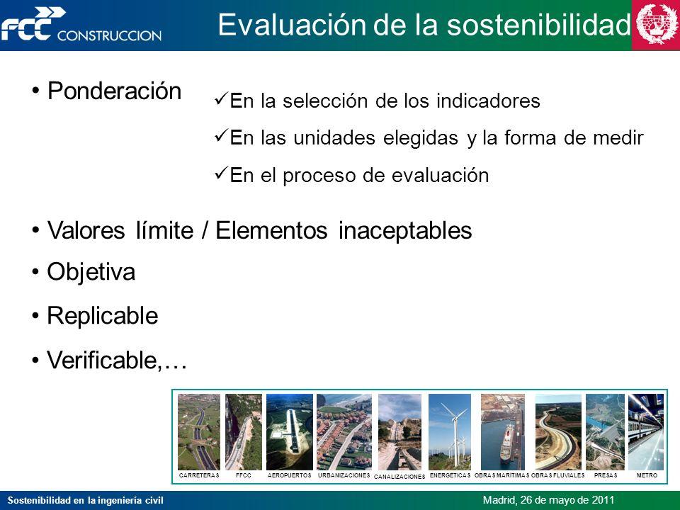 Sostenibilidad en la ingeniería civil Madrid, 26 de mayo de 2011 En la selección de los indicadores En las unidades elegidas y la forma de medir En el