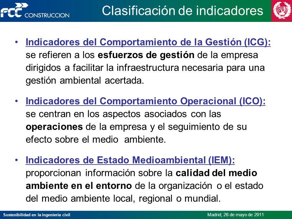 Sostenibilidad en la ingeniería civil Madrid, 26 de mayo de 2011 Clasificación de indicadores Indicadores del Comportamiento de la Gestión (ICG): se r