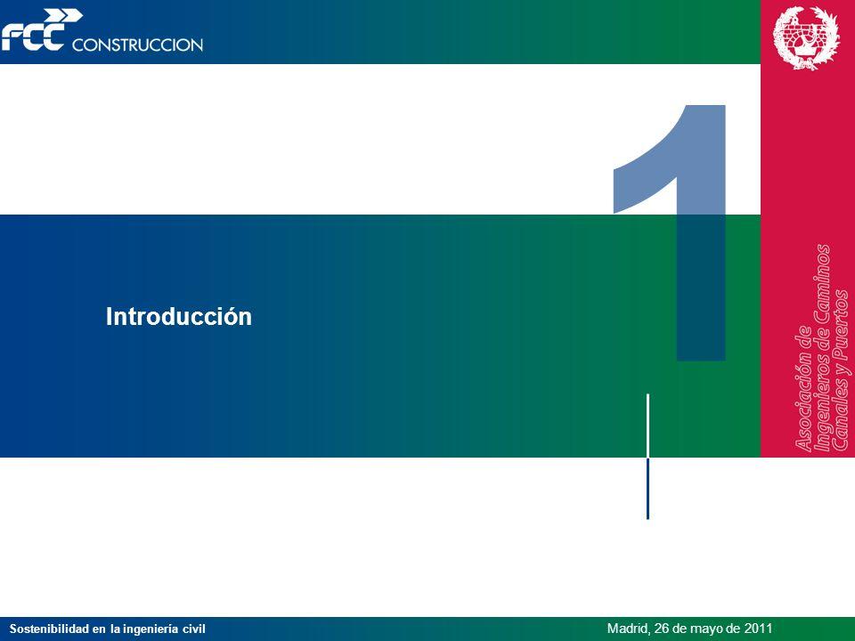 Sostenibilidad en la ingeniería civil Madrid, 26 de mayo de 2011 Introducción 1