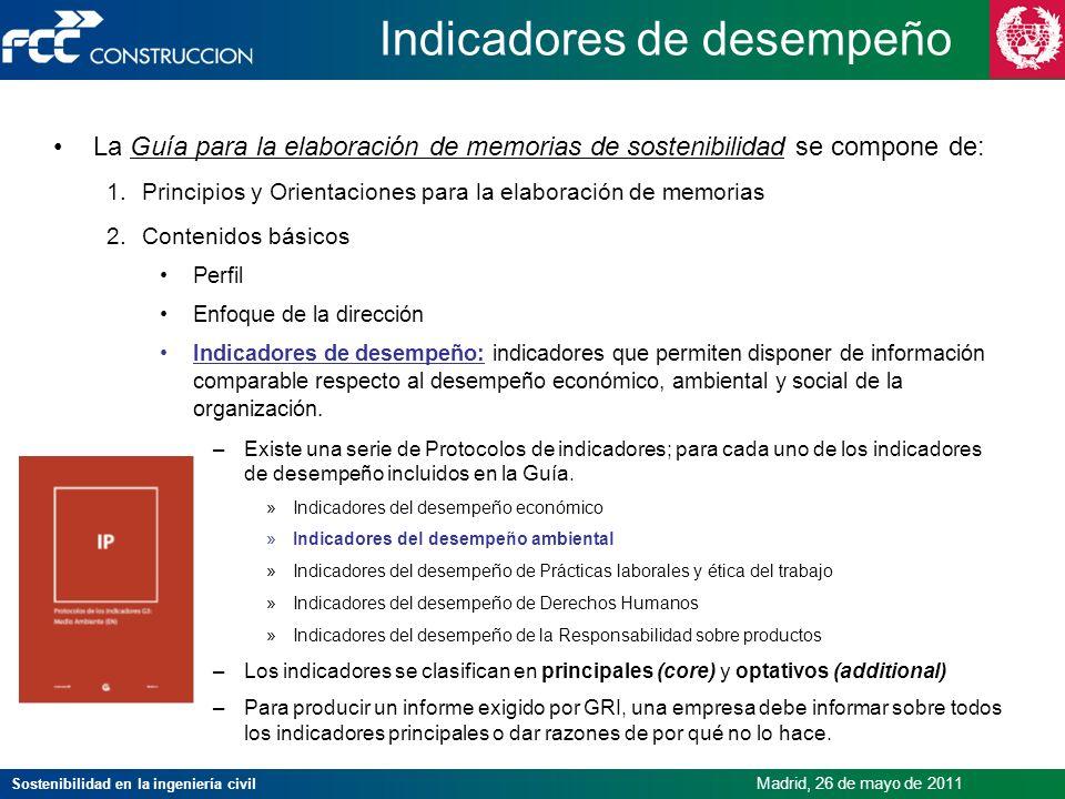 Sostenibilidad en la ingeniería civil Madrid, 26 de mayo de 2011 Indicadores de desempeño La Guía para la elaboración de memorias de sostenibilidad se