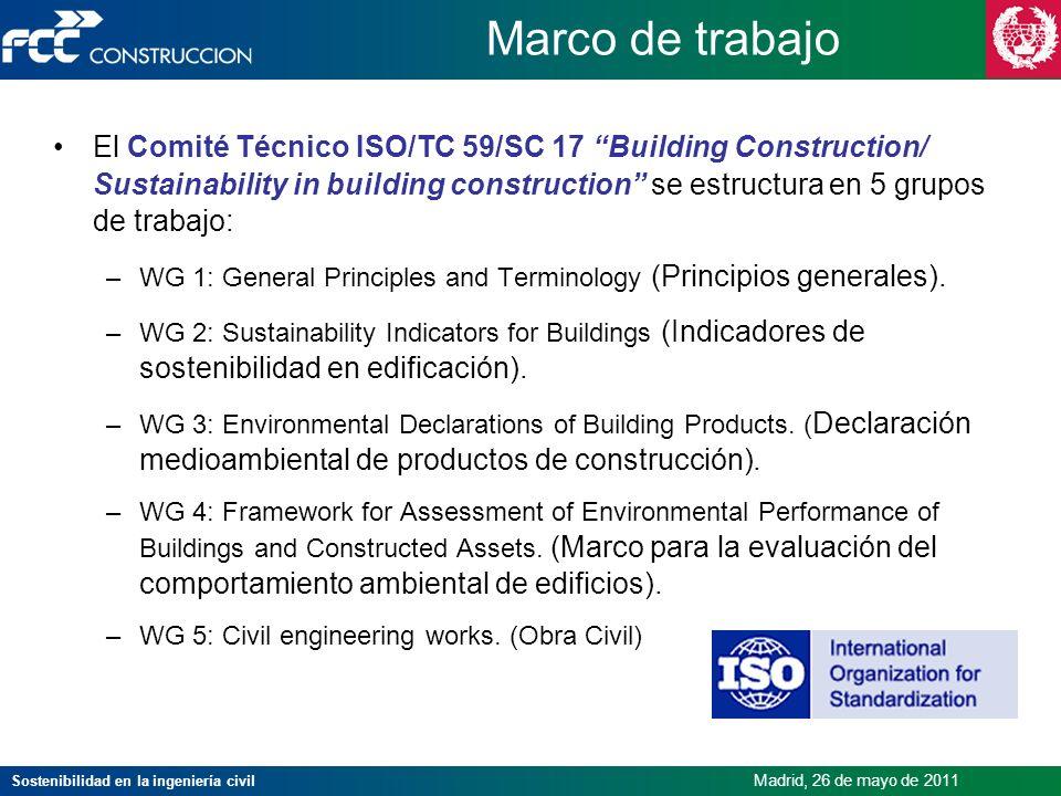 Sostenibilidad en la ingeniería civil Madrid, 26 de mayo de 2011 Marco de trabajo El Comité Técnico ISO/TC 59/SC 17 Building Construction/ Sustainabil