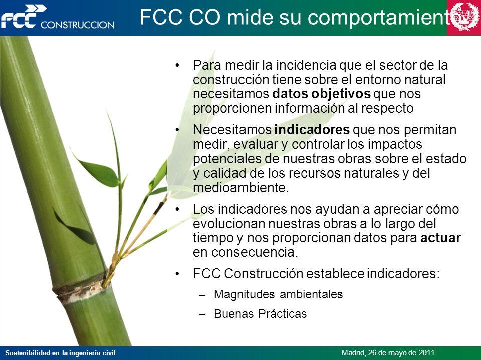 Sostenibilidad en la ingeniería civil Madrid, 26 de mayo de 2011 FCC CO mide su comportamiento Para medir la incidencia que el sector de la construcci