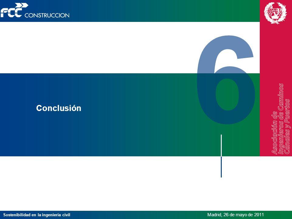 Sostenibilidad en la ingeniería civil Madrid, 26 de mayo de 2011 6 Conclusión