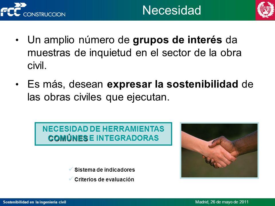 Sostenibilidad en la ingeniería civil Madrid, 26 de mayo de 2011 Necesidad Un amplio número de grupos de interés da muestras de inquietud en el sector