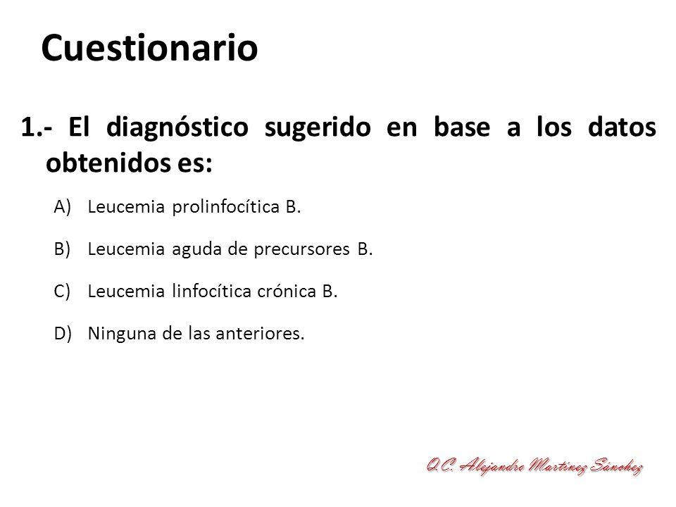 Cuestionario 2.- Responda la aseveración correcta: A)En la mitad de los casos se detecta citogenética: deleción 13(q14).