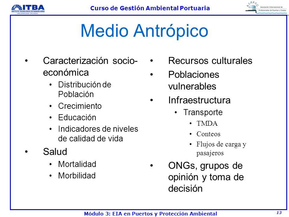 13 Curso de Gestión Ambiental Portuaria Módulo 3: EIA en Puertos y Protección Ambiental Medio Antrópico Caracterización socio- económica Distribución
