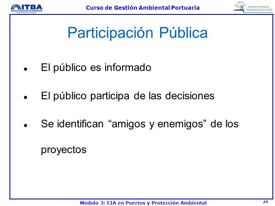 29 Curso de Gestión Ambiental Portuaria Módulo 3: EIA en Puertos y Protección Ambiental Participación Pública l El público es informado l El público p
