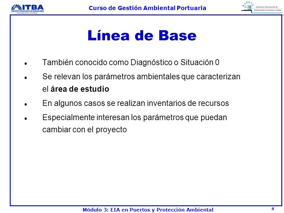 8 Curso de Gestión Ambiental Portuaria Módulo 3: EIA en Puertos y Protección Ambiental Línea de Base l También conocido como Diagnóstico o Situación 0