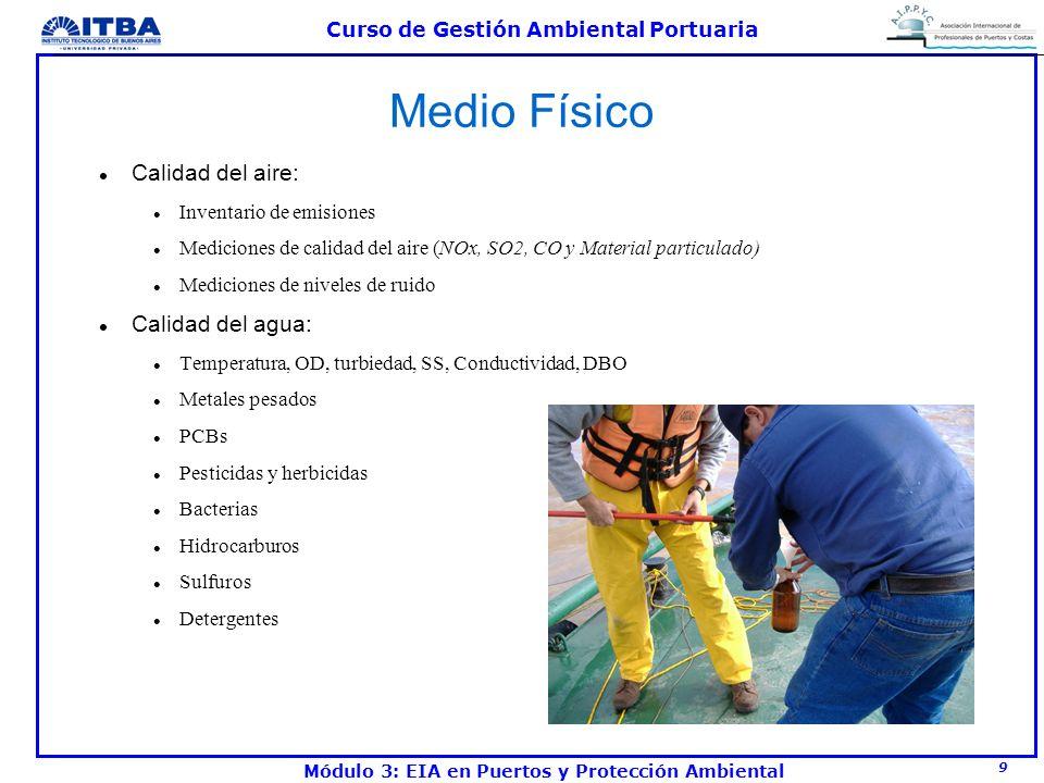 9 Curso de Gestión Ambiental Portuaria Módulo 3: EIA en Puertos y Protección Ambiental Medio Físico l Calidad del aire: l Inventario de emisiones l Me