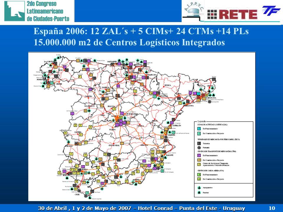 30 de Abril, 1 y 2 de Mayo de 2007 – Hotel Conrad – Punta del Este - Uruguay 10 España 2006: 12 ZAL´s + 5 CIMs+ 24 CTMs +14 PLs 15.000.000 m2 de Centros Logísticos Integrados