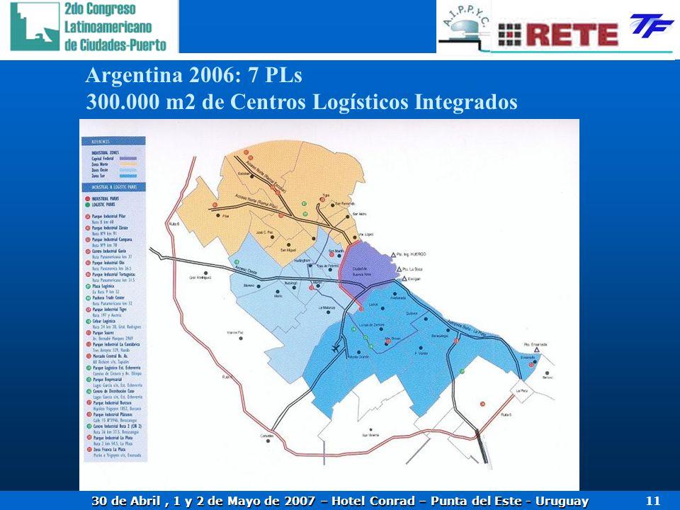 30 de Abril, 1 y 2 de Mayo de 2007 – Hotel Conrad – Punta del Este - Uruguay 11 Argentina 2006: 7 PLs 300.000 m2 de Centros Logísticos Integrados