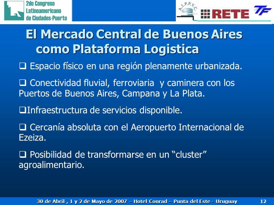30 de Abril, 1 y 2 de Mayo de 2007 – Hotel Conrad – Punta del Este - Uruguay 12 El Mercado Central de Buenos Aires como Plataforma Logistica Espacio físico en una región plenamente urbanizada.