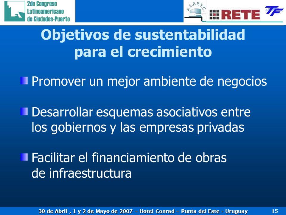 30 de Abril, 1 y 2 de Mayo de 2007 – Hotel Conrad – Punta del Este - Uruguay 15 Objetivos de sustentabilidad para el crecimiento Promover un mejor ambiente de negocios Desarrollar esquemas asociativos entre los gobiernos y las empresas privadas Facilitar el financiamiento de obras de infraestructura