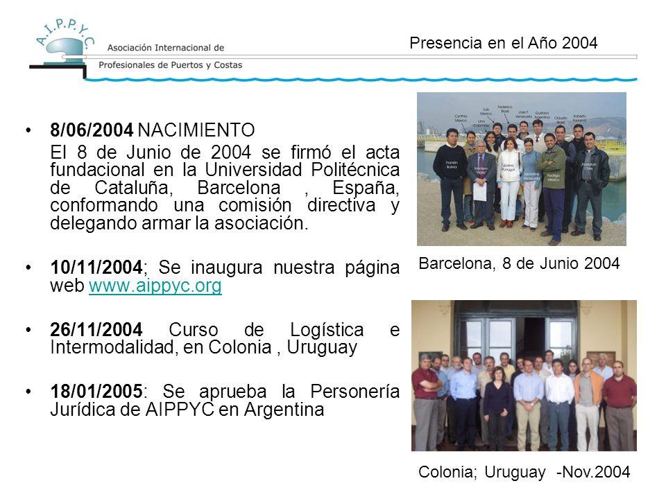 8/06/2004 NACIMIENTO El 8 de Junio de 2004 se firmó el acta fundacional en la Universidad Politécnica de Cataluña, Barcelona, España, conformando una comisión directiva y delegando armar la asociación.