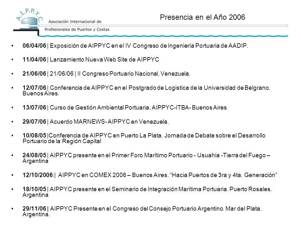 06/04/06 | Exposición de AIPPYC en el IV Congreso de Ingeniería Portuaria de AADIP.
