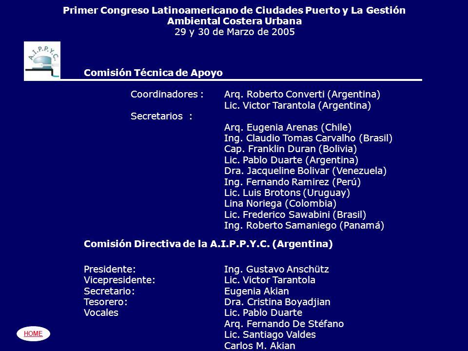 PRIMER CONGRESO LATINOAMERICANO DE CIUDADES-PUERTO Y LA GESTIONA AMBIENTAL COSTERA URBANA Objetivos (Por eI Ing.