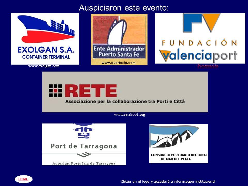 www.exolgan.comPresentación www.rete2001.org HOME Clikee en el logo y accederá a información institucional Auspiciaron este evento: