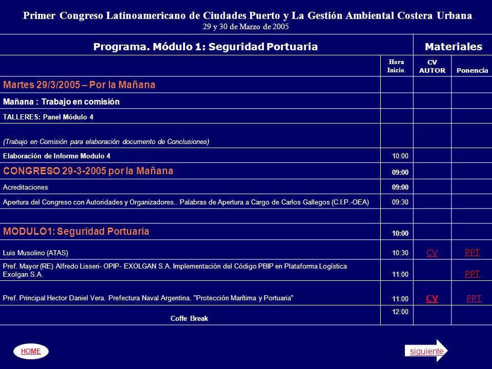 HOME siguiente Primer Congreso Latinoamericano de Ciudades Puerto y La Gestión Ambiental Costera Urbana 29 y 30 de Marzo de 2005 Programa.