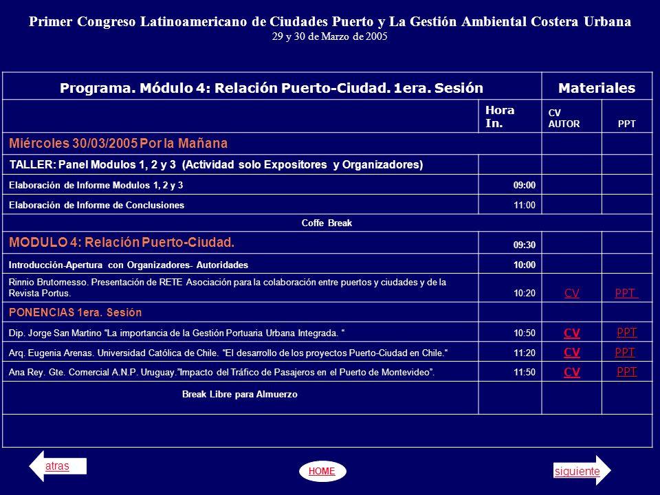 Programa.Módulo 4: Relación Puerto-Ciudad (2da. Y 3era.
