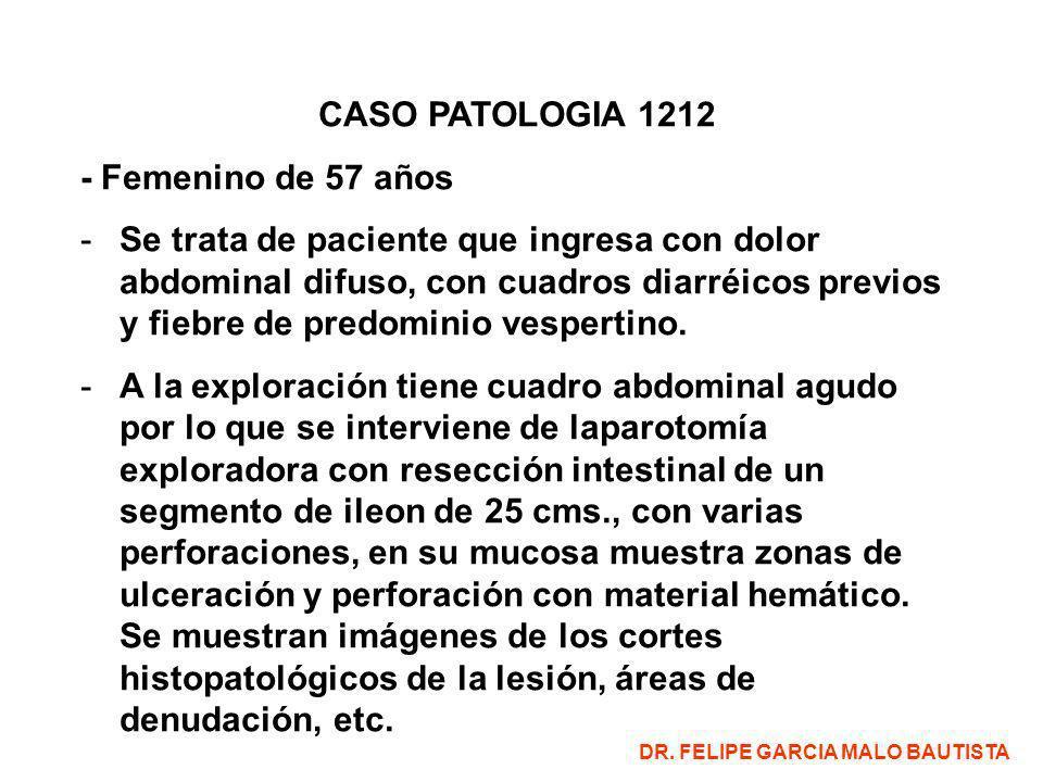 CASO PATOLOGIA 1212 - Femenino de 57 años -Se trata de paciente que ingresa con dolor abdominal difuso, con cuadros diarréicos previos y fiebre de predominio vespertino.