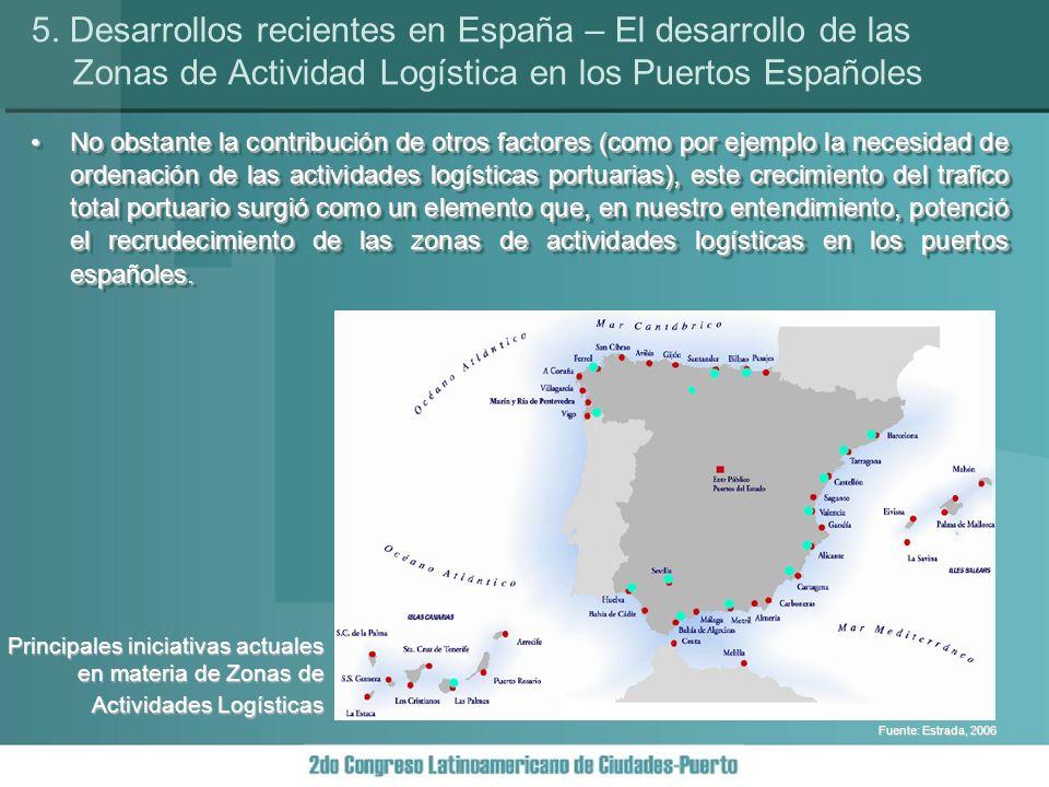 No obstante la contribución de otros factores (como por ejemplo la necesidad de ordenación de las actividades logísticas portuarias), este crecimiento del trafico total portuario surgió como un elemento que, en nuestro entendimiento, potenció el recrudecimiento de las zonas de actividades logísticas en los puertos españoles.No obstante la contribución de otros factores (como por ejemplo la necesidad de ordenación de las actividades logísticas portuarias), este crecimiento del trafico total portuario surgió como un elemento que, en nuestro entendimiento, potenció el recrudecimiento de las zonas de actividades logísticas en los puertos españoles.