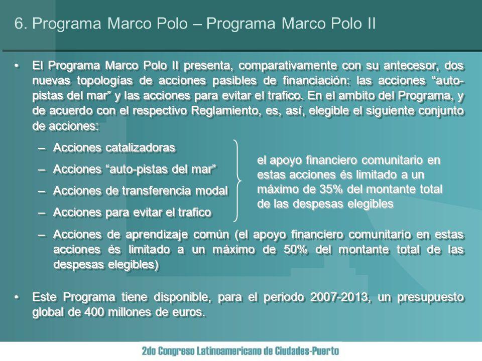 El Programa Marco Polo II presenta, comparativamente con su antecesor, dos nuevas topologías de acciones pasibles de financiación: las acciones auto- pistas del mar y las acciones para evitar el trafico.