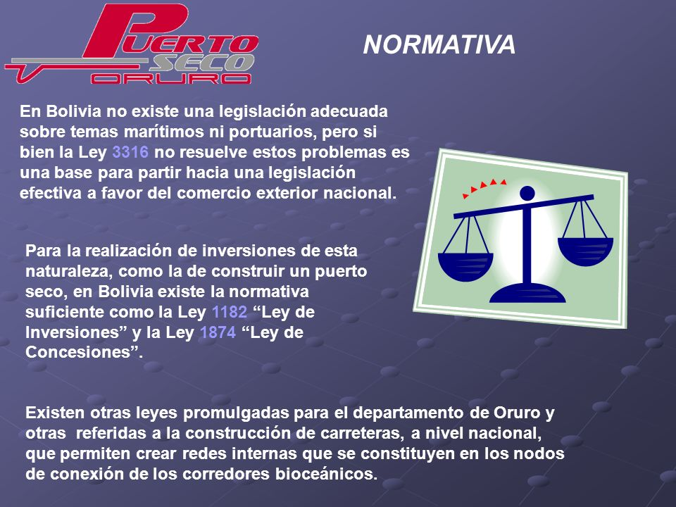 En Bolivia no existe una legislación adecuada sobre temas marítimos ni portuarios, pero si bien la Ley 3316 no resuelve estos problemas es una base pa