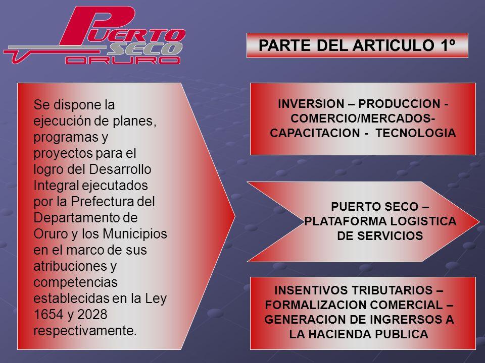 Se dispone la ejecución de planes, programas y proyectos para el logro del Desarrollo Integral ejecutados por la Prefectura del Departamento de Oruro