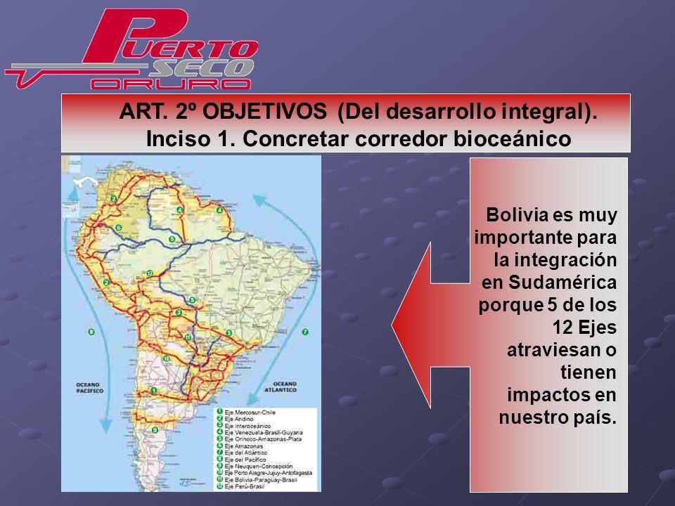 Bolivia es muy importante para la integración en Sudamérica porque 5 de los 12 Ejes atraviesan o tienen impactos en nuestro país. ART. 2º OBJETIVOS (D