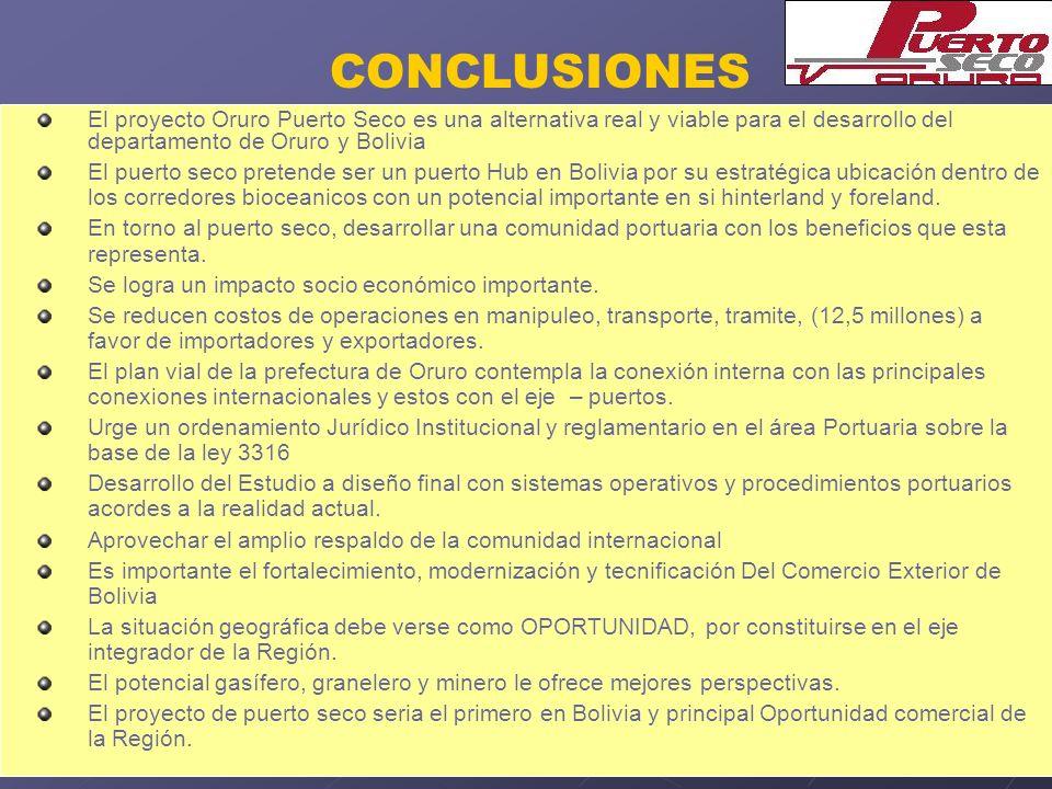 CONCLUSIONES El proyecto Oruro Puerto Seco es una alternativa real y viable para el desarrollo del departamento de Oruro y Bolivia El puerto seco pret